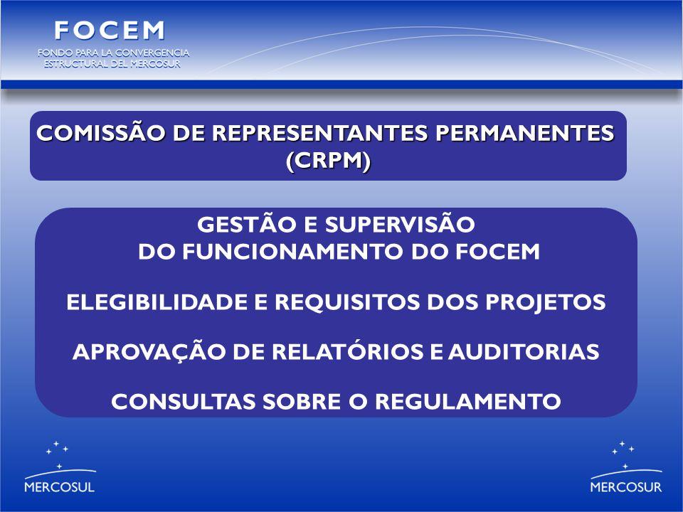 GESTÃO E SUPERVISÃO DO FUNCIONAMENTO DO FOCEM ELEGIBILIDADE E REQUISITOS DOS PROJETOS APROVAÇÃO DE RELATÓRIOS E AUDITORIAS CONSULTAS SOBRE O REGULAMENTO COMISSÃO DE REPRESENTANTES PERMANENTES (CRPM)