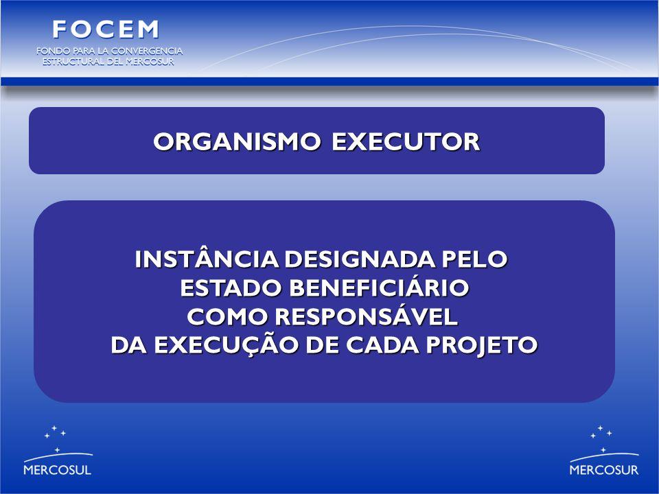 INSTÂNCIA DESIGNADA PELO ESTADO BENEFICIÁRIO COMO RESPONSÁVEL DA EXECUÇÃO DE CADA PROJETO ORGANISMO EXECUTOR