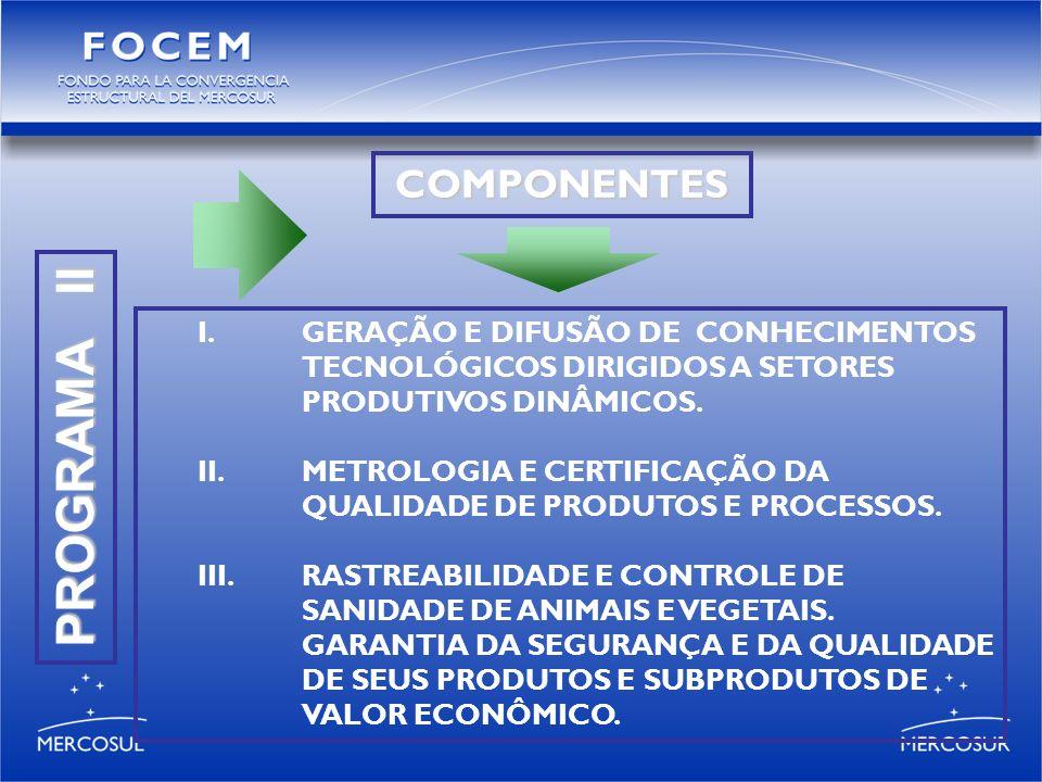 PROGRAMA II I.GERAÇÃO E DIFUSÃO DE CONHECIMENTOS TECNOLÓGICOS DIRIGIDOS A SETORES PRODUTIVOS DINÂMICOS.