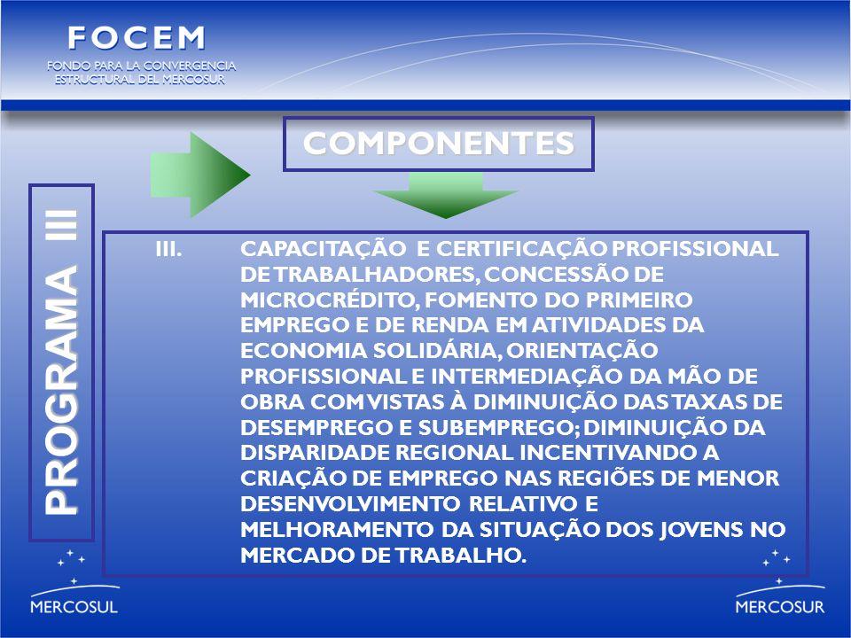 PROGRAMA III COMPONENTES III.CAPACITAÇÃO E CERTIFICAÇÃO PROFISSIONAL DE TRABALHADORES, CONCESSÃO DE MICROCRÉDITO, FOMENTO DO PRIMEIRO EMPREGO E DE RENDA EM ATIVIDADES DA ECONOMIA SOLIDÁRIA, ORIENTAÇÃO PROFISSIONAL E INTERMEDIAÇÃO DA MÃO DE OBRA COM VISTAS À DIMINUIÇÃO DAS TAXAS DE DESEMPREGO E SUBEMPREGO; DIMINUIÇÃO DA DISPARIDADE REGIONAL INCENTIVANDO A CRIAÇÃO DE EMPREGO NAS REGIÕES DE MENOR DESENVOLVIMENTO RELATIVO E MELHORAMENTO DA SITUAÇÃO DOS JOVENS NO MERCADO DE TRABALHO.