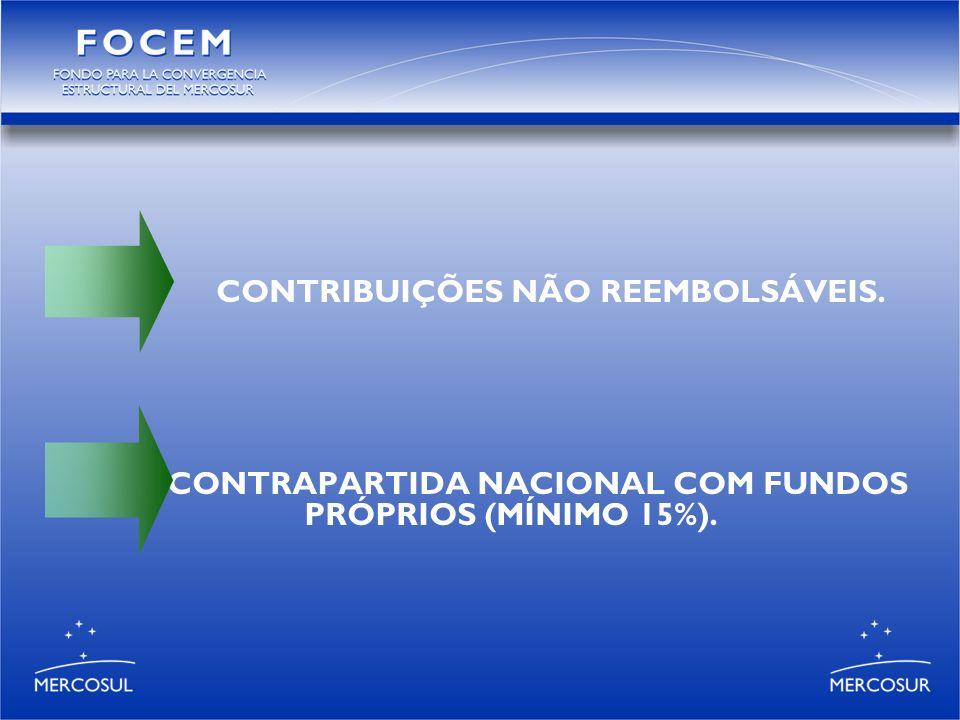 CONTRIBUIÇÕES NÃO REEMBOLSÁVEIS. CONTRAPARTIDA NACIONAL COM FUNDOS PRÓPRIOS (MÍNIMO 15%).