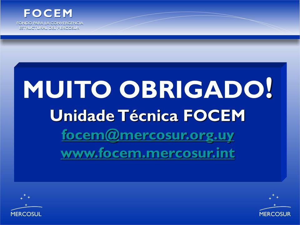 ! MUITO OBRIGADO ! Unidade Técnica FOCEM focem@mercosur.org.uy www.focem.mercosur.int