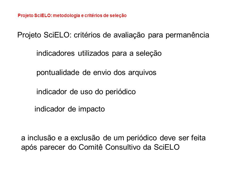 Projeto SciELO: metodologia e critérios de seleção Projeto SciELO: critérios de avaliação para permanência indicadores utilizados para a seleção pontu
