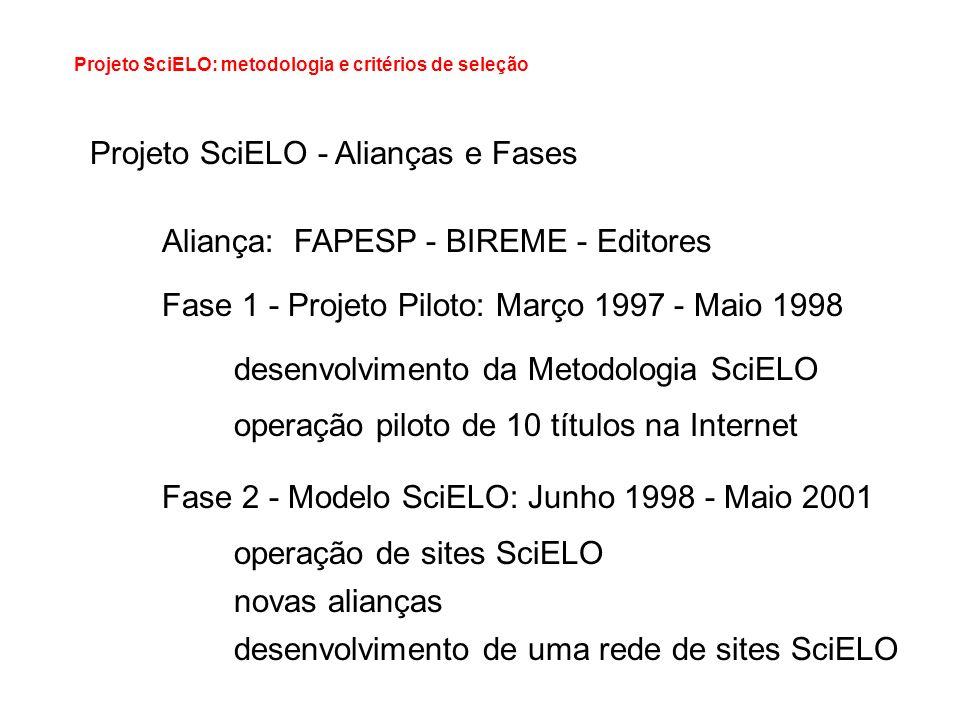 Projeto SciELO: metodologia e critérios de seleção Projeto SciELO - Alianças e Fases Aliança: FAPESP - BIREME - Editores Fase 1 - Projeto Piloto: Març