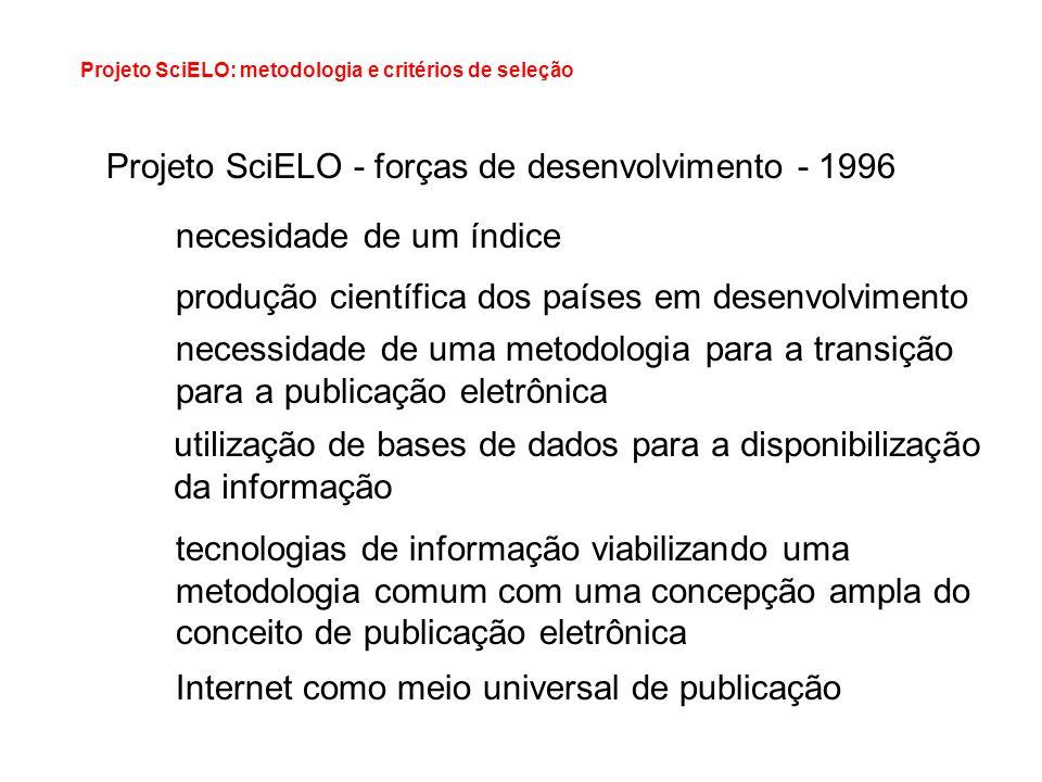 Projeto SciELO - forças de desenvolvimento - 1996 necesidade de um índice produção científica dos países em desenvolvimento necessidade de uma metodol