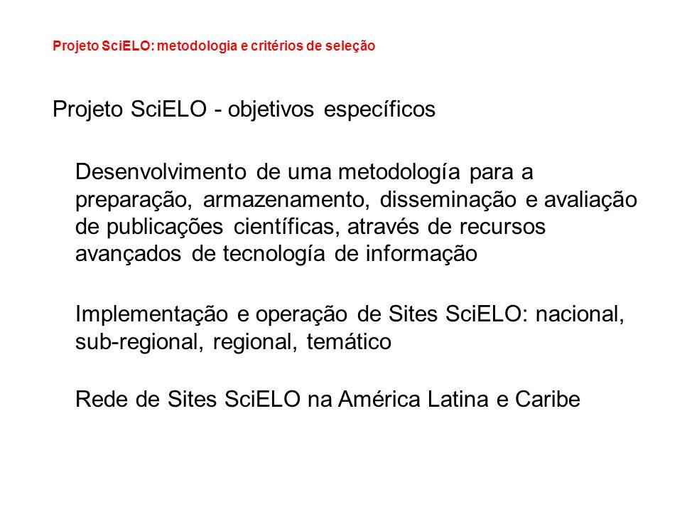 Projeto SciELO - objetivos específicos Desenvolvimento de uma metodología para a preparação, armazenamento, disseminação e avaliação de publicações ci