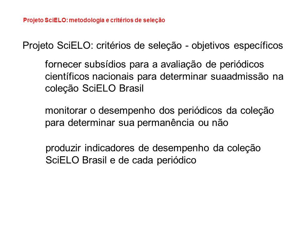 Projeto SciELO: critérios de seleção - objetivos específicos fornecer subsídios para a avaliação de periódicos científicos nacionais para determinar s