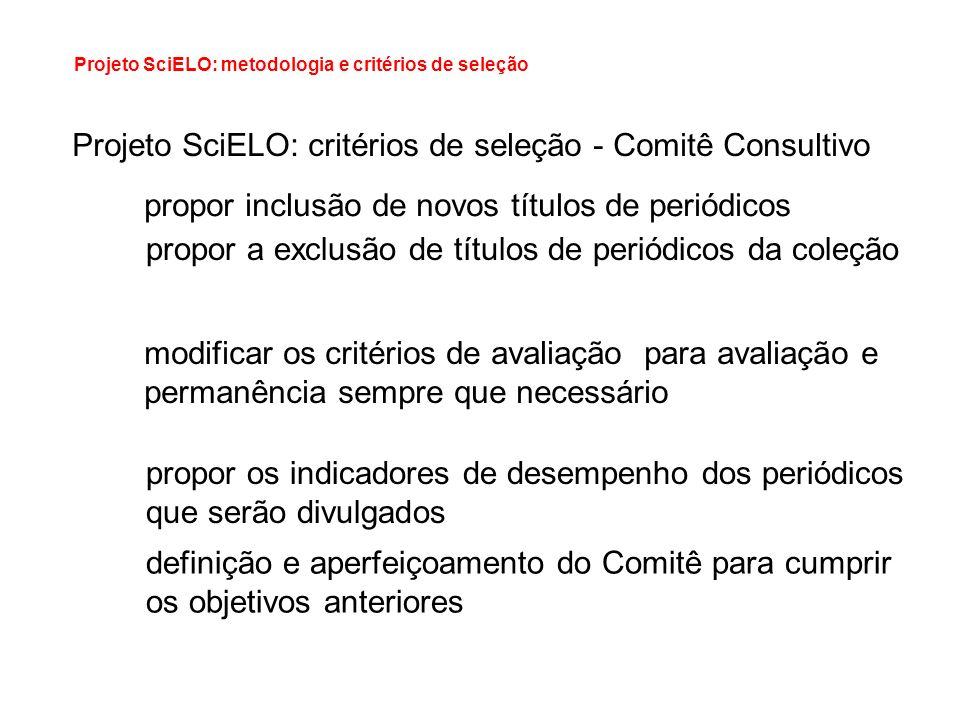 Projeto SciELO: metodologia e critérios de seleção Projeto SciELO: critérios de seleção - Comitê Consultivo propor inclusão de novos títulos de periód