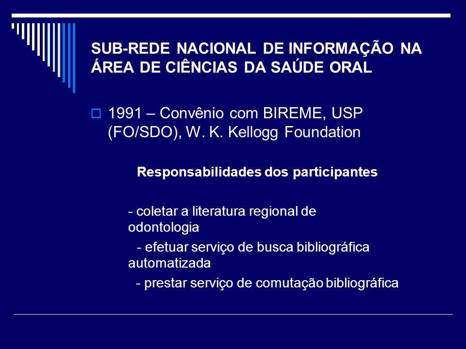 SUB-REDE NACIONAL DE INFORMAÇÃO NA ÁREA DE CIÊNCIAS DA SAÚDE ORAL 1991 – Convênio com BIREME, USP (FO/SDO), W.