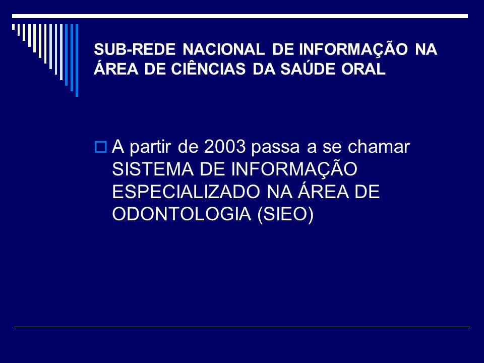 SUB-REDE NACIONAL DE INFORMAÇÃO NA ÁREA DE CIÊNCIAS DA SAÚDE ORAL A partir de 2003 passa a se chamar SISTEMA DE INFORMAÇÃO ESPECIALIZADO NA ÁREA DE ODONTOLOGIA (SIEO)