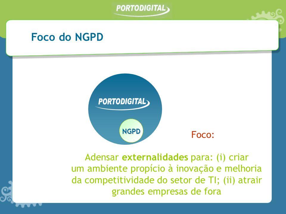 NGPD Adensar externalidades para: (i) criar um ambiente propício à inovação e melhoria da competitividade do setor de TI; (ii) atrair grandes empresas