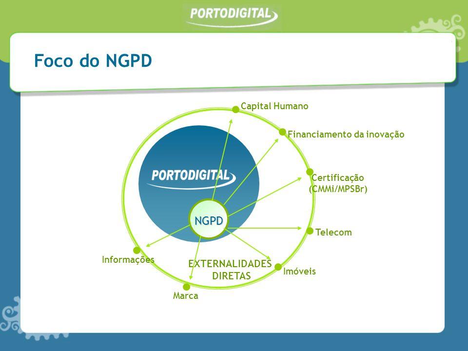 NGPD EXTERNALIDADES DIRETAS Capital Humano Financiamento da inovação Certificação (CMMi/MPSBr) Telecom Imóveis Marca Informações Foco do NGPD