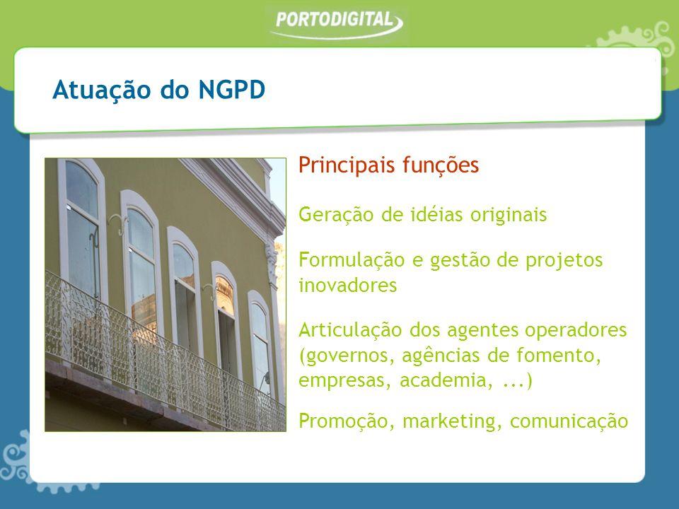 Atuação do NGPD Principais funções Geração de idéias originais Formulação e gestão de projetos inovadores Articulação dos agentes operadores (governos