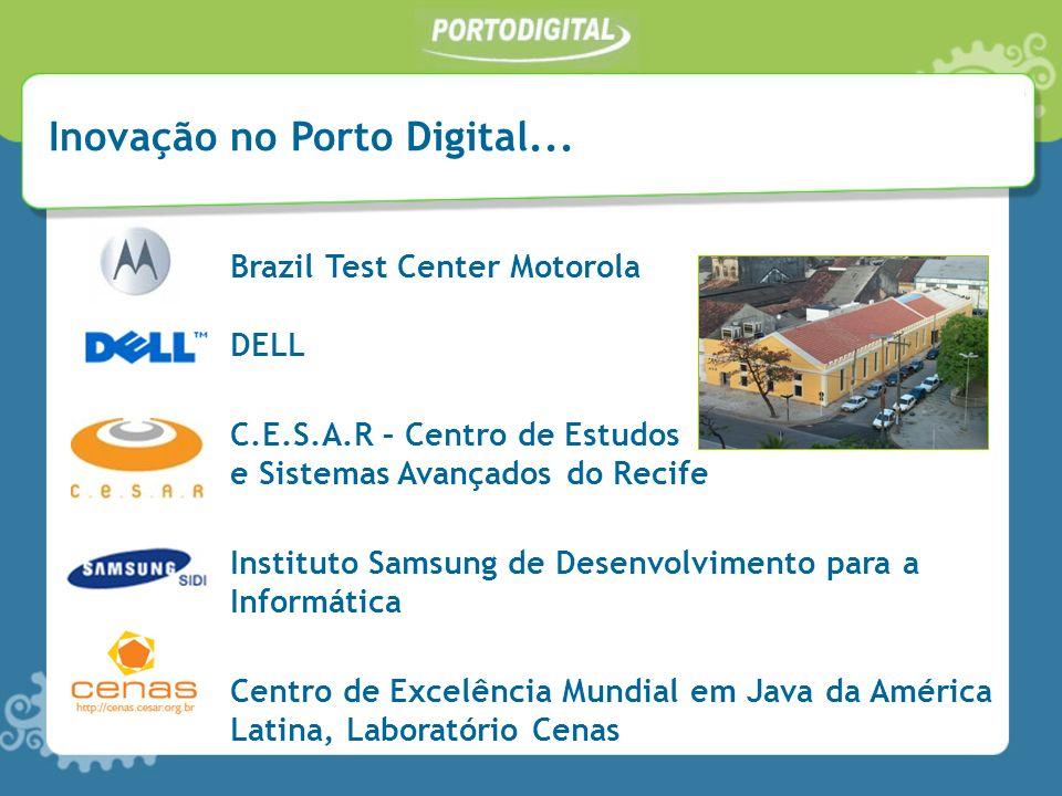 Inovação no Porto Digital... Brazil Test Center Motorola DELL C.E.S.A.R – Centro de Estudos e Sistemas Avançados do Recife Instituto Samsung de Desenv