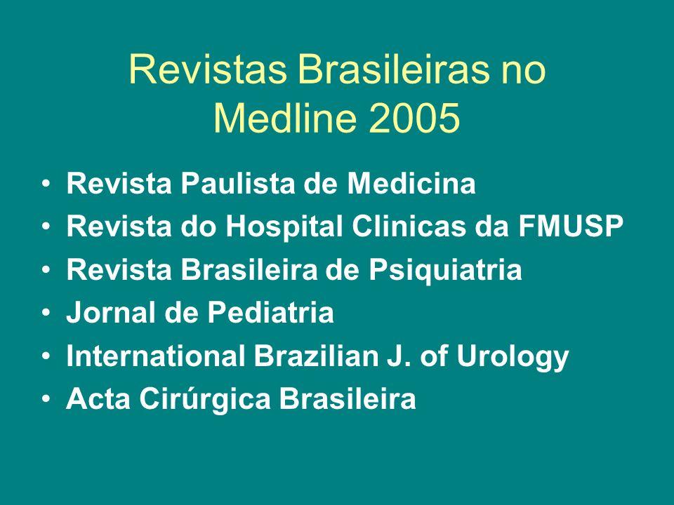 Revistas Brasileiras no Medline 2005 Revista Paulista de Medicina Revista do Hospital Clinicas da FMUSP Revista Brasileira de Psiquiatria Jornal de Pe