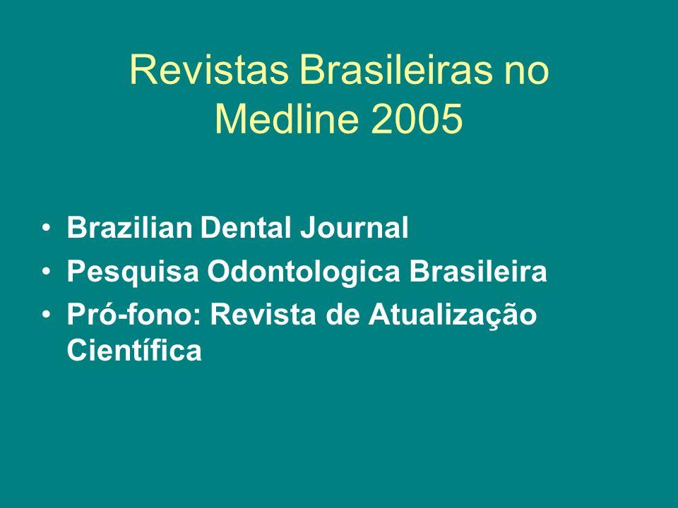 Revistas Brasileiras no Medline 2005 Brazilian Dental Journal Pesquisa Odontologica Brasileira Pró-fono: Revista de Atualização Científica