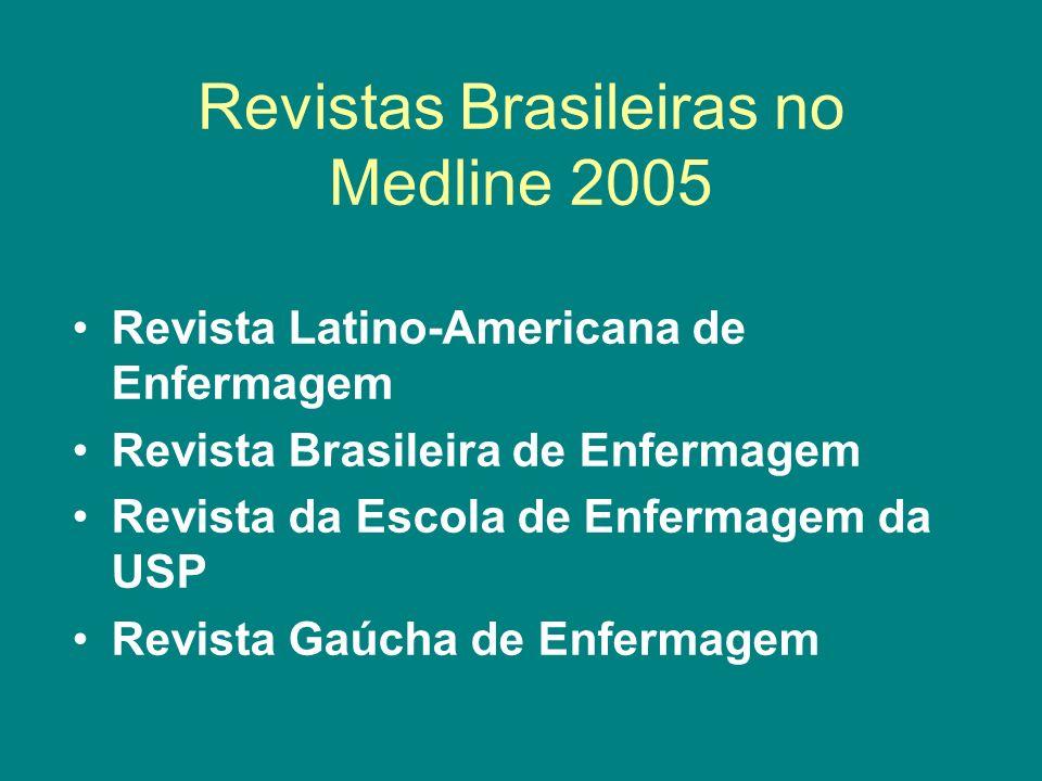 Revistas Brasileiras no Medline 2005 Revista Latino-Americana de Enfermagem Revista Brasileira de Enfermagem Revista da Escola de Enfermagem da USP Re