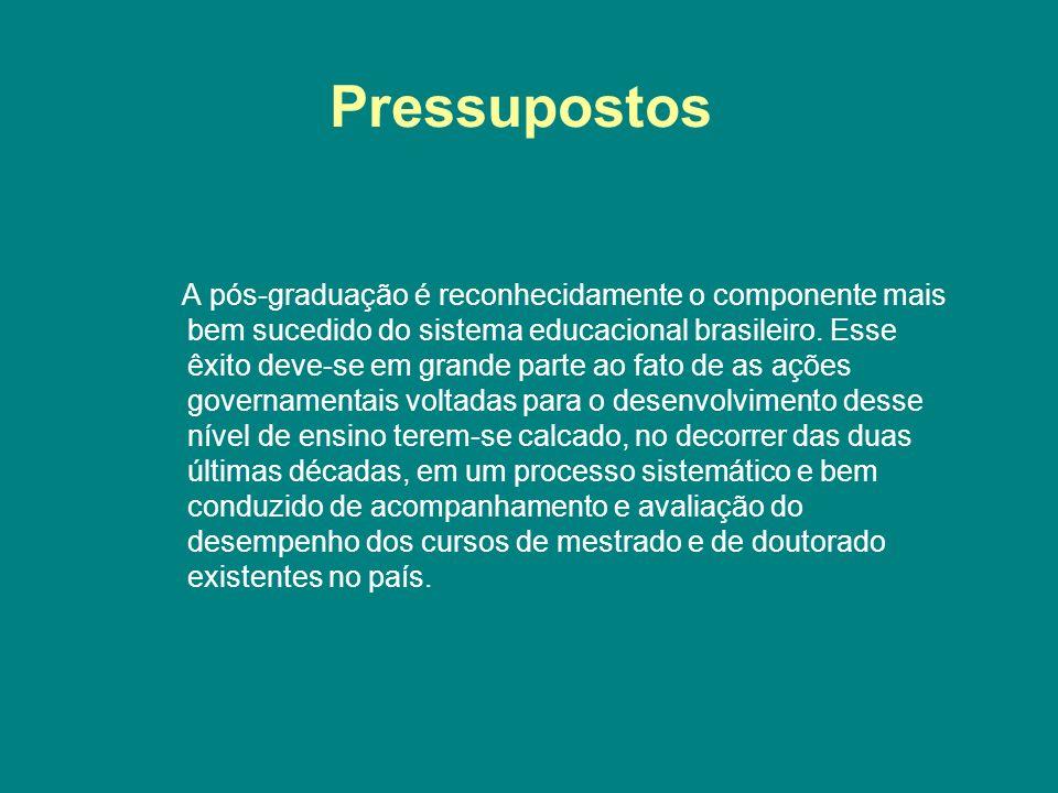 Pressupostos A pós-graduação é reconhecidamente o componente mais bem sucedido do sistema educacional brasileiro. Esse êxito deve-se em grande parte a