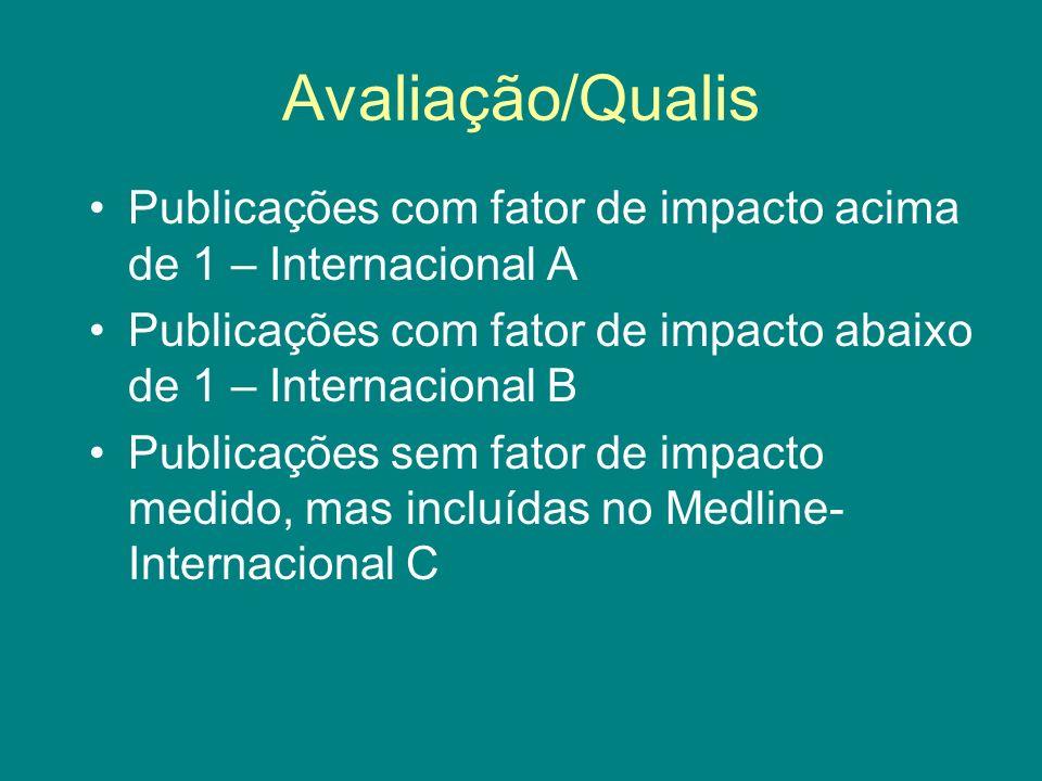 Avaliação/Qualis Publicações com fator de impacto acima de 1 – Internacional A Publicações com fator de impacto abaixo de 1 – Internacional B Publicaç