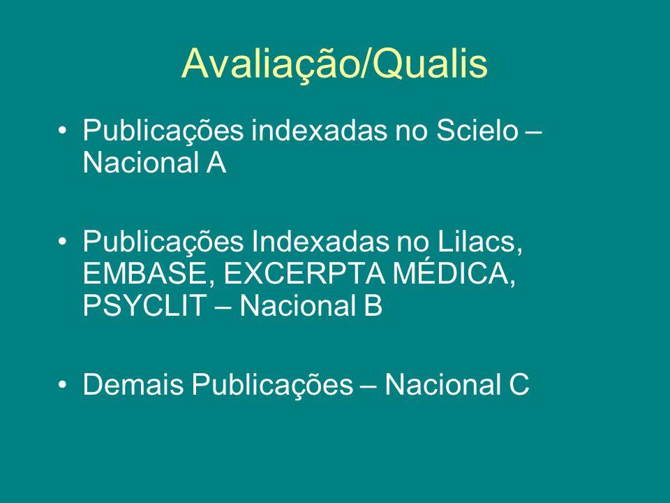 Avaliação/Qualis Publicações indexadas no Scielo – Nacional A Publicações Indexadas no Lilacs, EMBASE, EXCERPTA MÉDICA, PSYCLIT – Nacional B Demais Pu