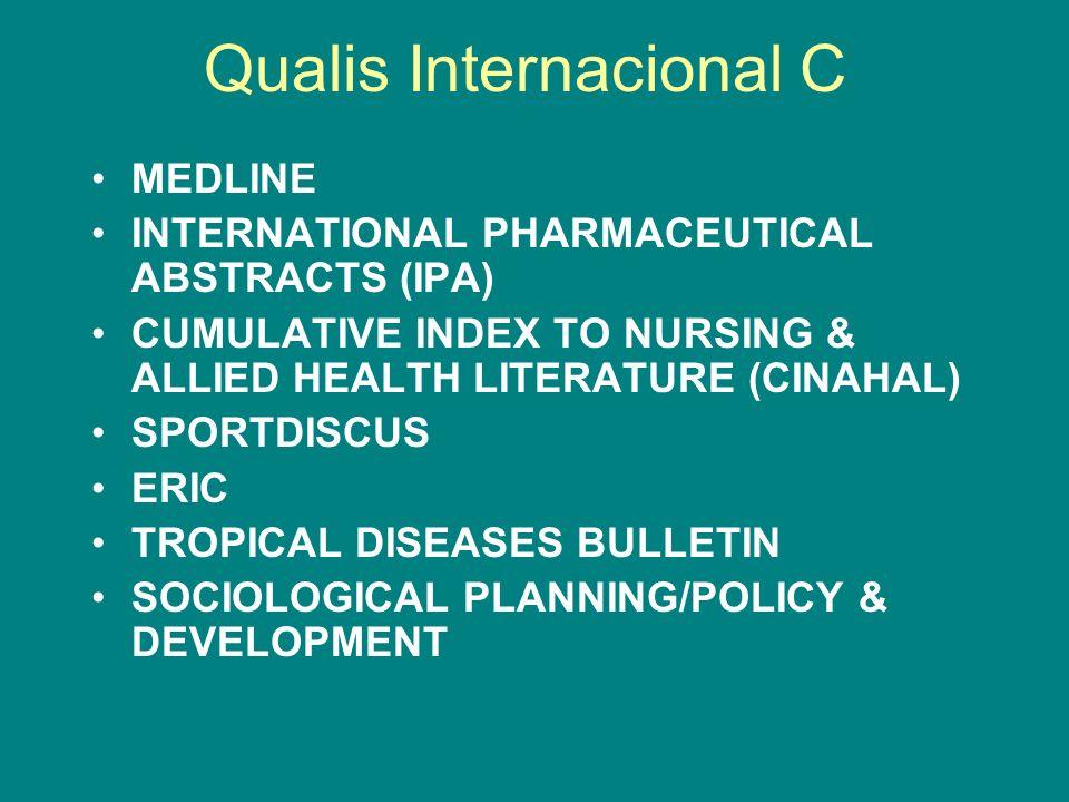 Qualis Internacional C MEDLINE INTERNATIONAL PHARMACEUTICAL ABSTRACTS (IPA) CUMULATIVE INDEX TO NURSING & ALLIED HEALTH LITERATURE (CINAHAL) SPORTDISC