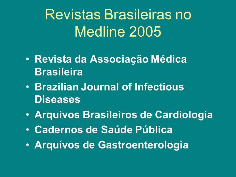 Revistas Brasileiras no Medline 2005 Revista da Associação Médica Brasileira Brazilian Journal of Infectious Diseases Arquivos Brasileiros de Cardiolo