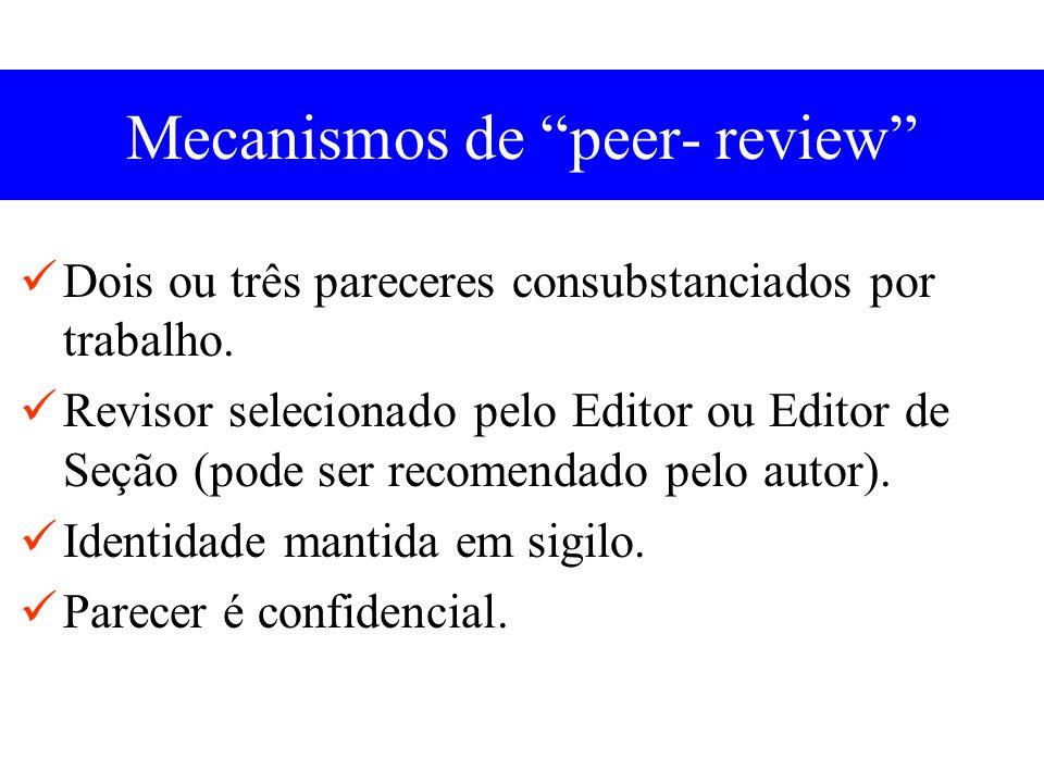 Mecanismos de peer- review Dois ou três pareceres consubstanciados por trabalho.
