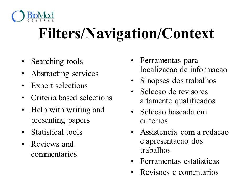 Filters/Navigation/Context Searching tools Abstracting services Expert selections Criteria based selections Help with writing and presenting papers St