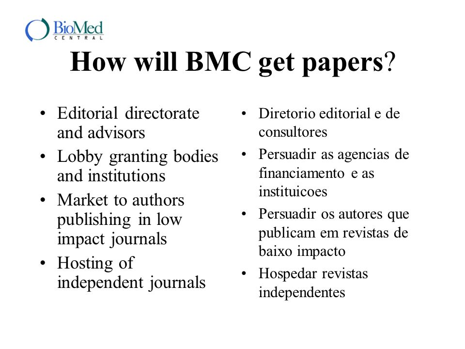 How will BMC get papers? Editorial directorate and advisors Lobby granting bodies and institutions Market to authors publishing in low impact journals