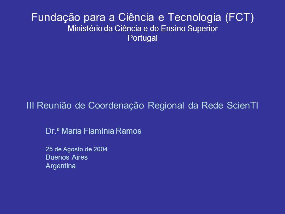 Fundação para a Ciência e Tecnologia (FCT) Ministério da Ciência e do Ensino Superior Portugal Orçamento Investimento Anual (2004) –200.000.000 Euros –244.000.000 US Dólares Orçamento de Funcionamento –5.000.000 Euros –6.100.000 US Dólares