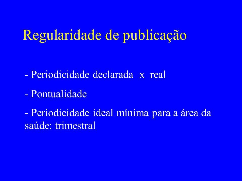 Regularidade de publicação - Periodicidade declarada x real - Pontualidade - Periodicidade ideal mínima para a área da saúde: trimestral
