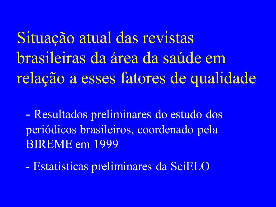 Situação atual das revistas brasileiras da área da saúde em relação a esses fatores de qualidade - Resultados preliminares do estudo dos periódicos br