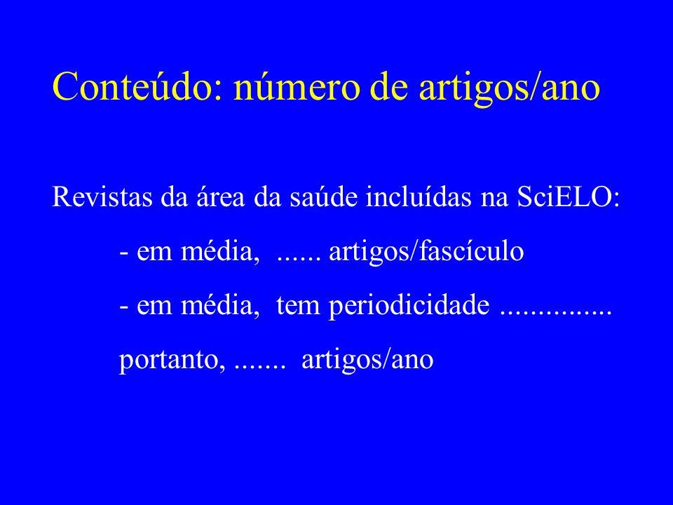 Conteúdo: número de artigos/ano Revistas da área da saúde incluídas na SciELO: - em média,...... artigos/fascículo - em média, tem periodicidade......