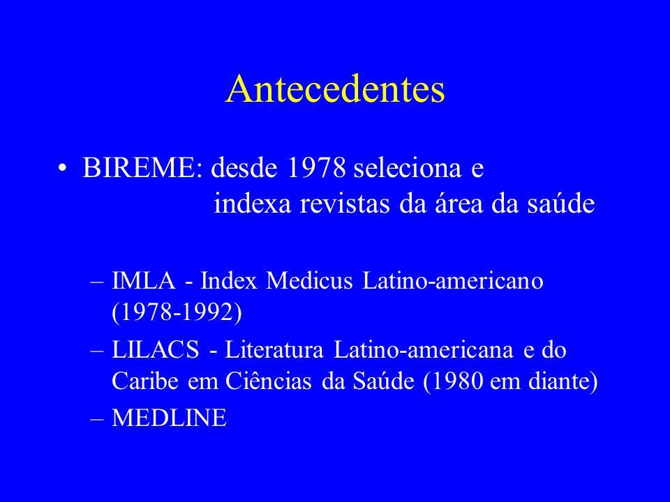 Antecedentes BIREME: desde 1978 seleciona e indexa revistas da área da saúde –IMLA - Index Medicus Latino-americano (1978-1992) –LILACS - Literatura L