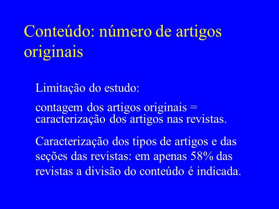 Conteúdo: número de artigos originais Limitação do estudo: contagem dos artigos originais = caracterização dos artigos nas revistas. Caracterização do