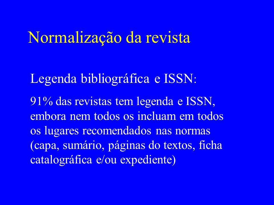 Normalização da revista Legenda bibliográfica e ISSN : 91% das revistas tem legenda e ISSN, embora nem todos os incluam em todos os lugares recomendad
