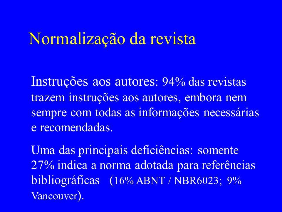Normalização da revista Instruções aos autores : 94% das revistas trazem instruções aos autores, embora nem sempre com todas as informações necessária