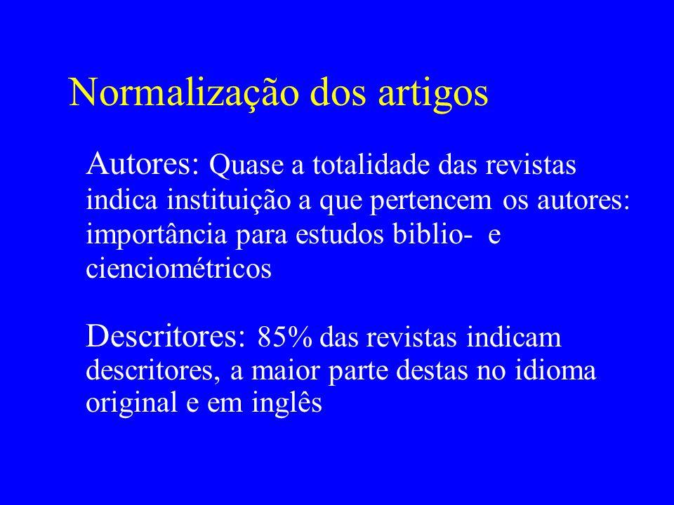 Normalização dos artigos Descritores: 85% das revistas indicam descritores, a maior parte destas no idioma original e em inglês Autores: Quase a total