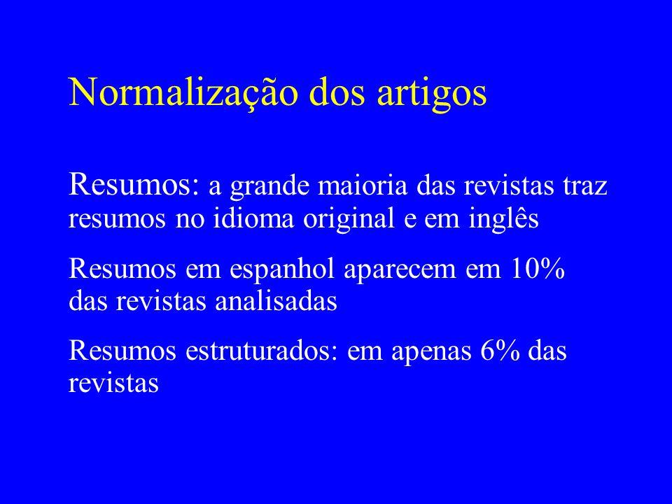 Normalização dos artigos Resumos: a grande maioria das revistas traz resumos no idioma original e em inglês Resumos em espanhol aparecem em 10% das re