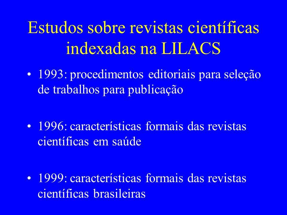 Estudos sobre revistas científicas indexadas na LILACS 1993: procedimentos editoriais para seleção de trabalhos para publicação 1996: características
