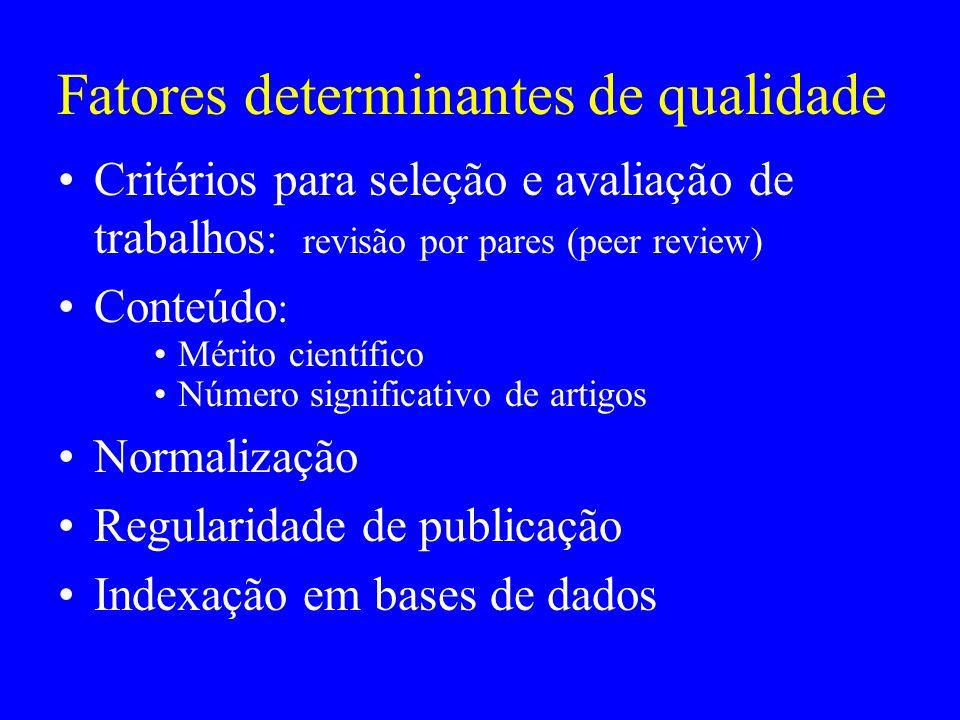 Fatores determinantes de qualidade Critérios para seleção e avaliação de trabalhos : revisão por pares (peer review) Conteúdo : Mérito científico Núme