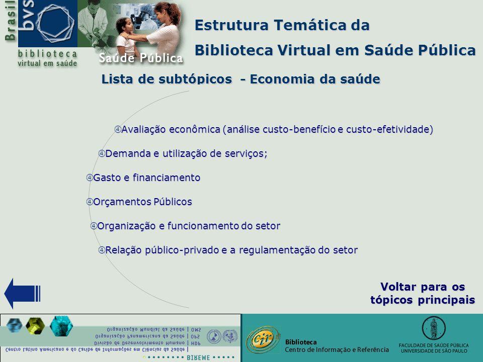 """Estrutura Temática da Biblioteca Virtual em Saúde Pública Lista de subtópicos - Economia da saúde """" Demanda e utilização de serviços; """" Gasto e financ"""