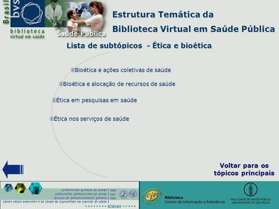 """Estrutura Temática da Biblioteca Virtual em Saúde Pública Lista de subtópicos - Ética e bioética """" Bioética e alocação de recursos de saúde """" Bioética"""
