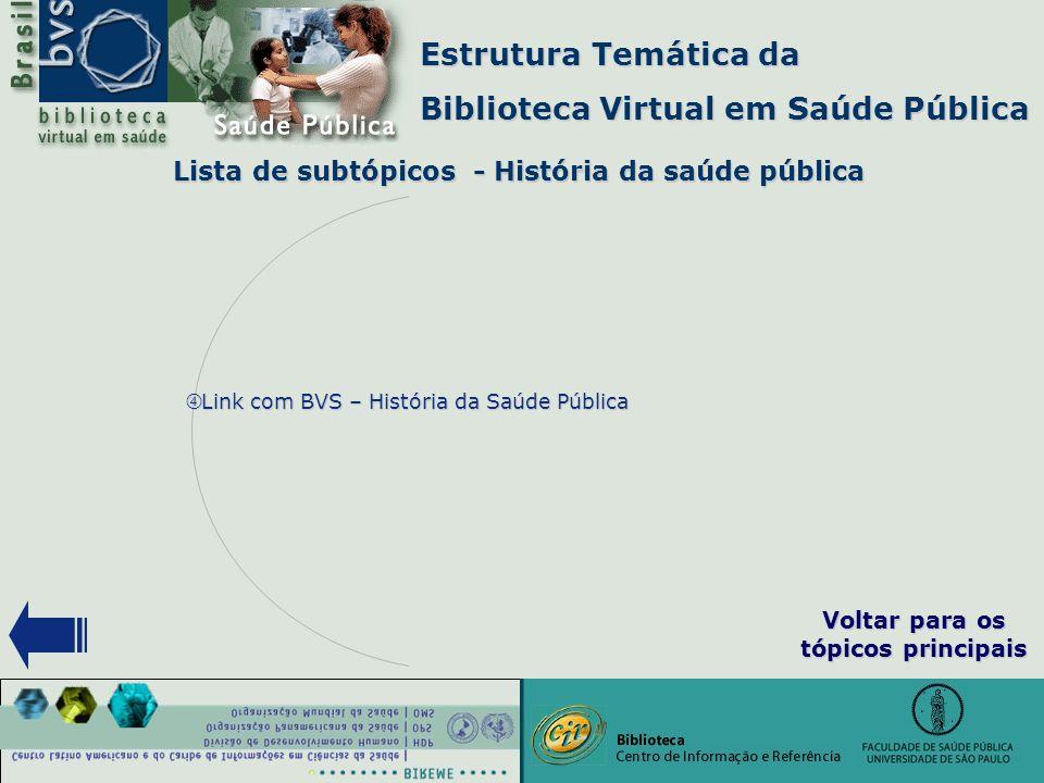 """Estrutura Temática da Biblioteca Virtual em Saúde Pública Lista de subtópicos - História da saúde pública """" Link com BVS – História da Saúde Pública V"""