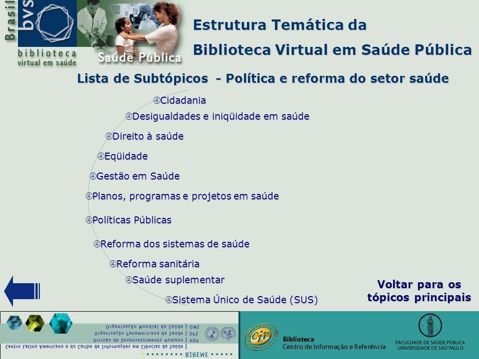 """Estrutura Temática da Biblioteca Virtual em Saúde Pública Lista de Subtópicos - Política e reforma do setor saúde """" Eqüidade """" Gestão em Saúde """" Plano"""