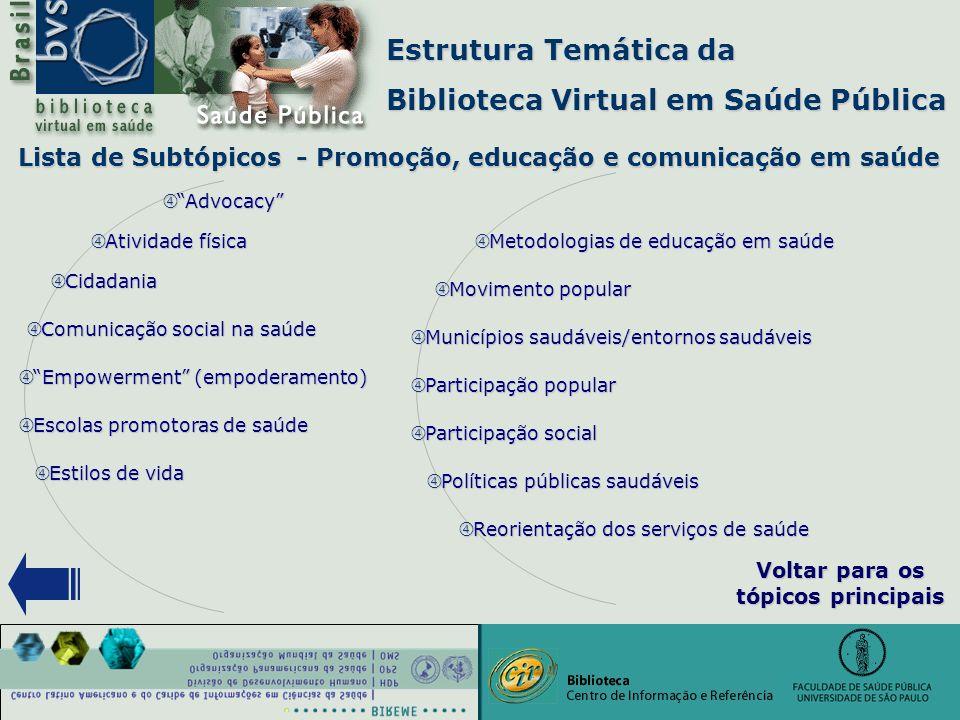 """Estrutura Temática da Biblioteca Virtual em Saúde Pública """" Comunicação social na saúde """" Advocacy """" Atividade física """" Empowerment (empoderamento) """""""