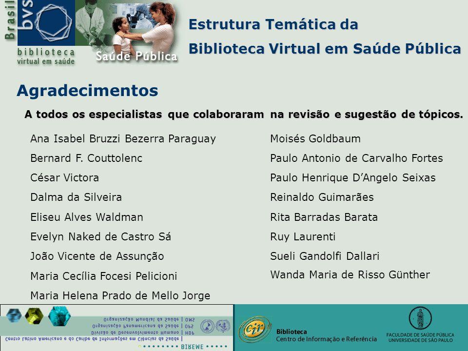 Estrutura Temática da Biblioteca Virtual em Saúde Pública Agradecimentos Wanda Maria de Risso Günther A todos os especialistas que colaboraram na revi