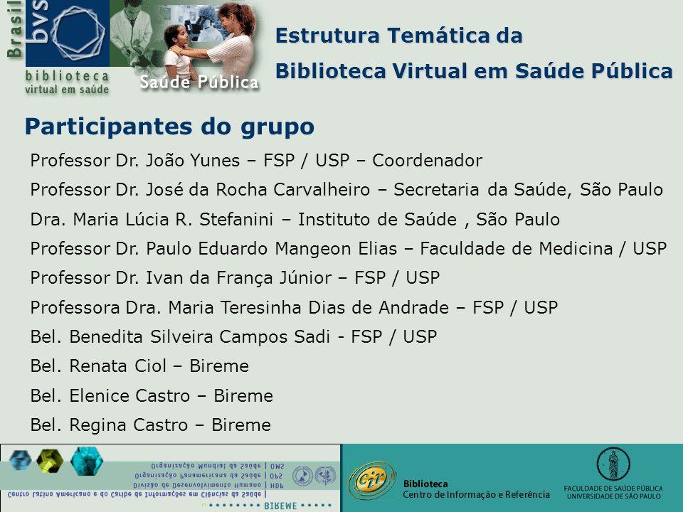 Estrutura Temática da Biblioteca Virtual em Saúde Pública Bel. Elenice Castro – Bireme Participantes do grupo Professor Dr. João Yunes – FSP / USP – C