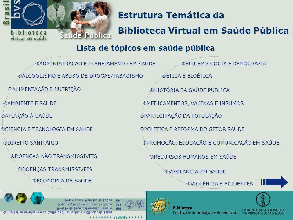 """Estrutura Temática da Biblioteca Virtual em Saúde Pública Lista de tópicos em saúde pública """" EPIDEMIOLOGIA E DEMOGRAFIA EPIDEMIOLOGIA E DEMOGRAFIA EP"""