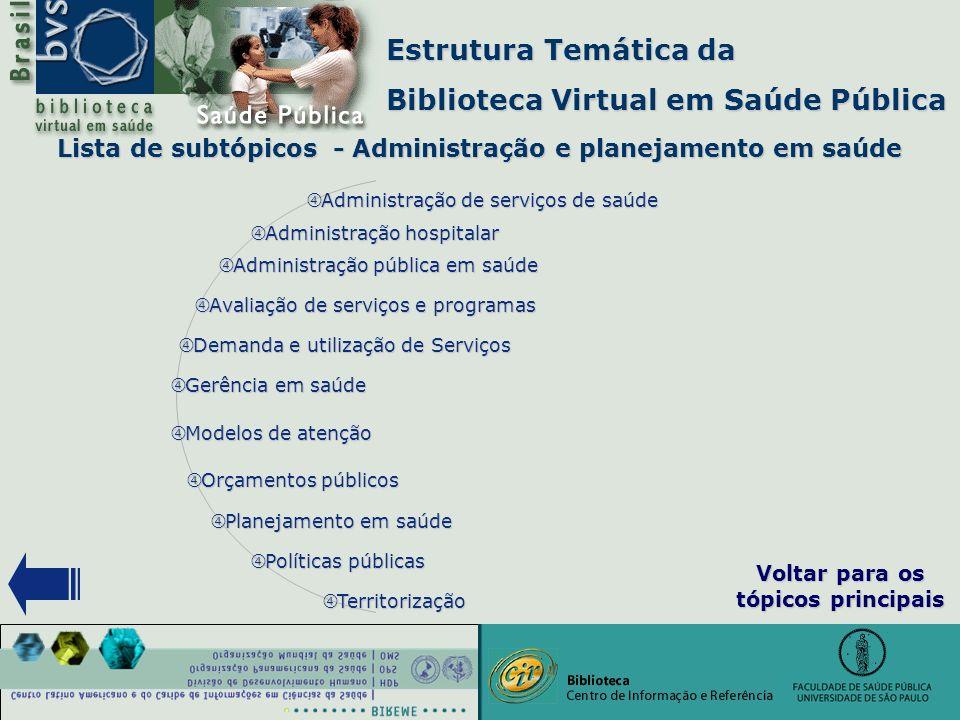 """Estrutura Temática da Biblioteca Virtual em Saúde Pública """" Gerência em saúde """" Planejamento em saúde """" Políticas públicas """" Administração pública em"""